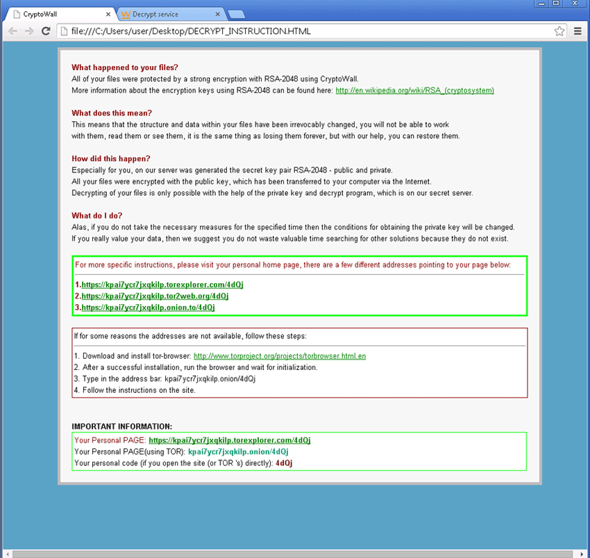 CryptoWall instructions